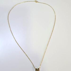 Gargantilla plata dorada con inicial M